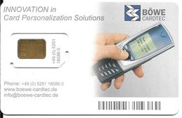 CARTE-PUCE-GSM-DEMONSTRATION-BOWE CARDTEC-Puce Garantie Attachée-TBE - Nachladekarten (Handy/SIM)