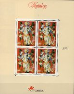 Abart Weihnachten 1995 Ohne Text Portugal Block 112II ** 9€ Engel Bloque Natal Ss Bloc Art Sheet Painting Christmas - Errors, Freaks & Oddities (EFO)