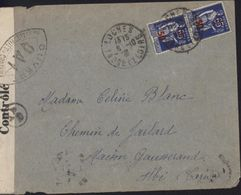 Guerre 39 45 YT 479 Paix Bande Censure Contrôlé + Cachet Ouvert Par Autorité Contrôle QA1 Toulouse + QA/1 Loches 6 10 41 - Guerre De 1939-45