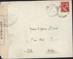 Guerre 40 YT 433 Iris CAD Carpentras 4 10 41 Bande Censure + Cachet Ouvert Par Autorité De Contrôle OE3 = Avignon - Guerre De 1939-45