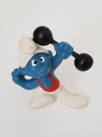 Figurine Schtroumpf Costaud - Weightlifter Smurf - Musculation - Culturisme - Haltérophilie - Weightlifting - Dumbbells - Figurillas