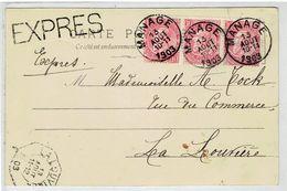Carte Postale Met N° 58 ( 3 X ) - EXPRES  Manage - La Louviere - Tram - Carte Fantasie Reutlinger Paris - 1893-1900 Fine Barbe
