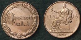 M_p> Regno Vitt Eman III° Buono 1 Lira 1924 - BELLA Conservazione - 1861-1946 : Regno