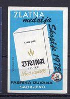 MATCHBOX LABEL,DRINA,CIGARETTE ADVERT,1972 GOLD MEDAL SKOPJE,SAFETY MATCH,SARAJEVO MANUFACTURER,BOSNIA - Boites D'allumettes - Etiquettes