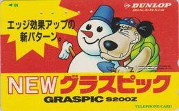 Télécarte JAPON / 110-011 - WACKY RACES DUNLOP - BD Comics / Bonhomme De Neige Chien Dog JAPAN Phonecard Pneu  12060 - BD