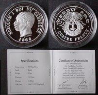 CAMBODGE  4 Francs  1860  Réplique En Argent  2007 CAMBODIA  NORODOM  INDOCHINE   PORT OFFERT - Colonies