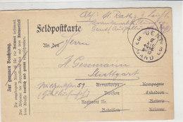Feldpost Aus GENT 2.12.1914 Nach  Stuttgart - Allemagne