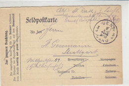 Feldpost Aus GENT 2.12.1914 Nach  Stuttgart - Covers & Documents