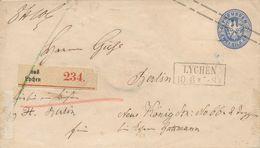 LYCHEN  -  1868 ,  Ganzsachenumschlag Als Paketbegleitbrief Nach Berlin , Stempel: PACKET-BESTELLUNG - Prusse