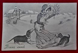 CPA Fantaisie 1909- Enfant/chiens/cochon - VK Vienne - Neujahr
