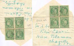 BLOC De 4 CÉRÈS MAZELIN 80 C. Vert-jaune YT 675 – TàD PARIS 28 R. DES ECOLES 15.1.48 + OMec KRAG – ENV. MIGNONNETTE 82x5 - Marcophilie (Lettres)