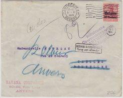 "LP Belgien - ""Retour A L'Envoyer"", Zweispr. Ra2 U. Klebezettel, Brief Antwerpen - Guerre 14-18"