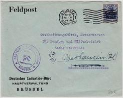 LP Belgien - Feldpostbrief/Dt. Industriebüro, Brüssel - Sterkrade 1916 - Guerre 14-18