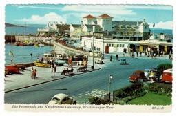 Ref 1374 - 1970's Bamforth Postcard - Weston-super-Mare - Promenade & Knightstone Causeway - Somerset - Weston-Super-Mare