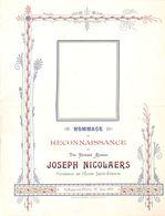 Hommage Au Révérend Joseph Nicolaers - Hollogne-aux-Pierres 1908 (33 X 25 Cm) - Programma's