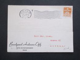 Dänemark Oktober 1945 Freimarken Wellenlinien Mit Perfin / Firmenlochung B.A. Mit Zensurstempel ?! - Cartas