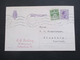 Dänemark 1922 Ganzsache Mit Zusatzfrankatur Freimarken Wellenlinien Nach Nürnberg Gesendet - Cartas