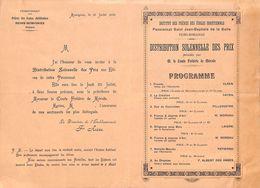 Pensionnat Des Frères  Reims-Momignies - Distribution Des Prix 1909 (28 X 20 Cm) - Programmes