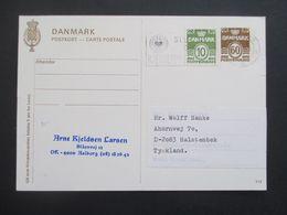 Dänemark 1974 Ganzsache Mit Zusatzfrankatur Freimarken Wellenlinien Nach Halstenbek Gesendet - Cartas