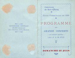 Commune De Bois-d'Haine - 1909 - Programme Des Concerts - Programmi