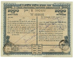 Ref 1375 - 1980 India 7 Year National Savings Certificate 1000 Rupees - Vieux Papiers