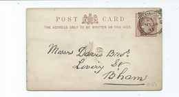 Great Britain Victoria Prepaid Postcard Birmingham D45 1885 Squared Circle - 1840-1901 (Victoria)
