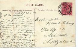 GRANDE BRETAGNE 1907: CP Illustrée D'Oxford Pour Lausanne (Suisse), CAD - Storia Postale