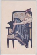 A. Jarach Illustrateur Rue De La Paix Femme Provocante à Chapeau Dans Fauteuil Erotisme Cocotte Pin-up - Illustrateurs & Photographes