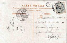 "FRANCE  BAHNPOST AMBULANT : PK  PZ (Fr) "" AGEN  A AUCH / 2 DEC 05""  Naar LECTOURE Met  ""O R"" In Een Cirkel - Poste Ferroviaire"