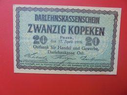 Darlehnskassenscheine Occupation à L'Est 20 KOPEKEN 1916 Circuler (B.14) - Eerste Wereldoorlog