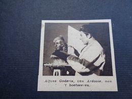 """Origineel Knipsel ( 4562 ) Uit Tijdschrift """" Zondagsvriend """"  1936  : Beeldhouwer Alfons Goderis  Van Ardooie - Vieux Papiers"""