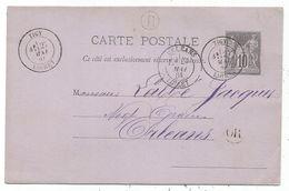 ENTIER SAGE 10C CP TYPE 18 TIGY 27 MAI 1884 LOIRET + BOITE B + OR VAIMES - 1877-1920: Semi Modern Period