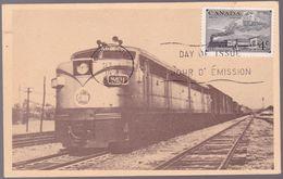 Carte Maximum Canada - FDC -  Diesel Electric Locomotive (train) - Timbre N° CA 246 (YT) - 1951 - Maximum Cards