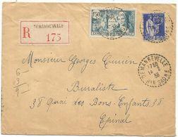 N°336+368 LETTRE REC C. PERLE DEMANGEVELLE 14.2.38 HTE SAONE  AU TARIF - Storia Postale