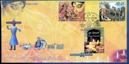 FESTIVALS OF INDIA- DEEPAVALI- DUSSEHRA - SET OF 3v ON FDC-INDIA-2008-IC-287 - FDC