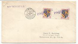 BLASON PAIRE INTERPANNEAU DAUPHINE LETTRE GRIFFE PAQUEBOT + TAMATAVE MADAGASCAR 22 JUIN 1954 POUR USA - 1941-66 Armoiries Et Blasons