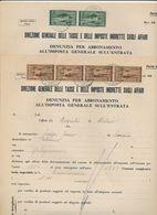 1950 URBINO 2 DOCUMENTI CON MARCHE DA BOLLO CONTRIBUTO SOLIDARIETA' NAZIONALE 3X4 E 6X2 IN USO CARTA DA BOLLO - Vecchi Documenti
