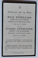 Faire Part Décès Alfred Letellier Saint Martin Don Sergent 104 RI René Letellier 5 RI Mort Pour La France Guerre 14-18 - 1914-18