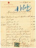 1910 POZZUOLI FARMACIA G RIMOLI RICEVUTA CON USO FISCALE 0,05 LEONI - Vecchi Documenti