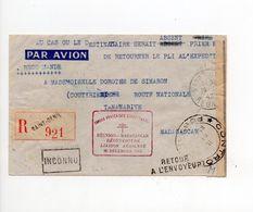 !!! LETTRE DE ST DENIS DE 1943, CACHET FORCES FRANCAISES COMBATTANTES, REOUVERTURE LIAISON AERIENNE REUNION - MADAGASCAR - Réunion (1852-1975)