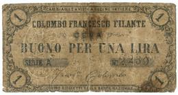 1 LIRA BIGLIETTO FIDUCIARIO COLOMBO FRANCESCO FILANTE CEVA MB+ - [ 1] …-1946 : Royaume