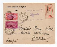 !!! COTE FR DES SOMALIS, LETTRE RECOMMANDEE DE 1932 CACHET 1ER SERVICE AVION DJIBOUTI - DAKAR - Covers & Documents