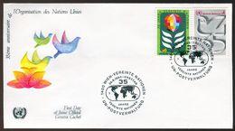 10548) UNO Wien - FDC - Mi 12 A / 13 A - 4-6s         35 Jahre UNO - FDC