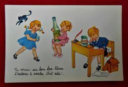 CPA Publicité Spa Citron / Enfants - Chat Noir - Werbepostkarten