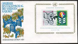 10557) UNO Wien - FDC - Block 1 = 12 B / 13 B - 4-6s             35 Jahre UNO - FDC
