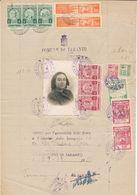1944 TARANTO DOCUMENTO CON MARCHE MUNICIPALI MUNICIPAL REVENUE - Monaco