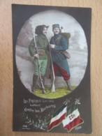 """CP Patriotique - Soldats Français Et Italien - """"Les Frères Latins Luttent Contre Les Barbares"""" - Carte Circulée - Patriotic"""