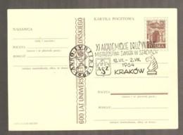 Poland 1960 Krakow - Chess Cancel On Postcard - Ajedrez