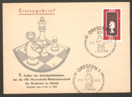 DDR 1969 Dresden - Chess Cancel On Chess Stamp, Chess Commemorative Envelope - Ajedrez