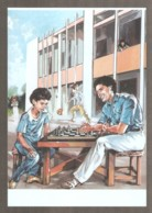 Libya 1988 - FHOTO - Muammar Gaddafi Plays Chess With His Son - Ajedrez
